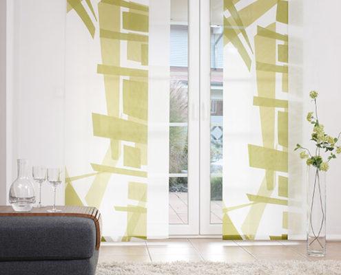 Flächenvorhänge - Gästezimmer grün gemustertFlächenvorhänge - Gästezimmer grün gemustert