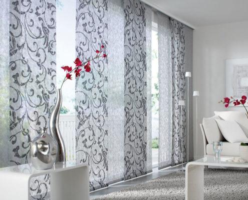 Flächenvorhänge - Wohnzimmer florales Muster in Grau