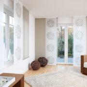 Flächenvorhänge - Beige gemustert im Wohnzimmer