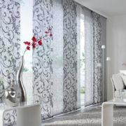 Flächenvorhänge - Wohnzimmer - Florales Muster in grau